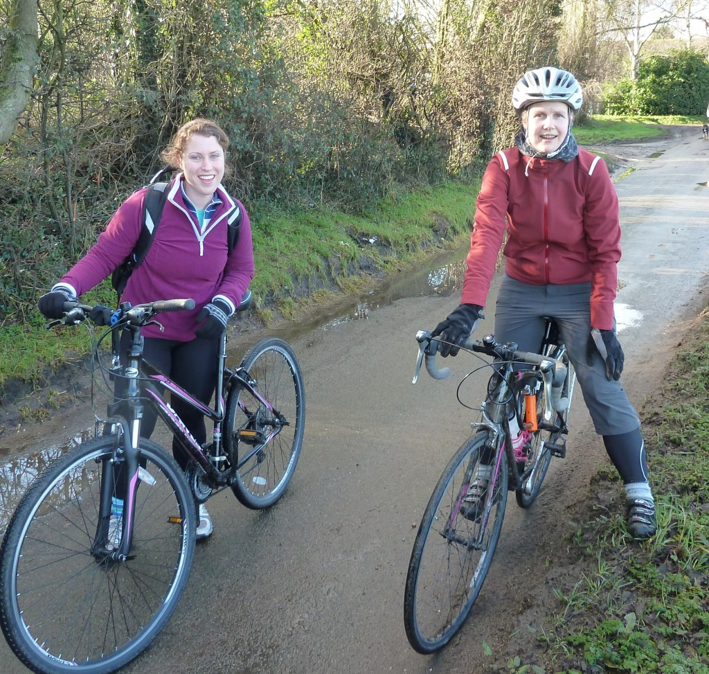 Two young women, on their first group ride with Lewisham Cyclists .
